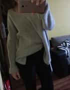szary sweter blogerski moher wełna asymetryczny oversize M...