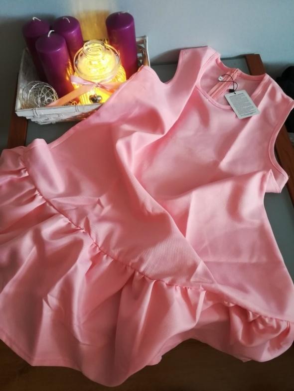 Suknie i sukienki Różowa sukienka trapez falbana XS L nowa