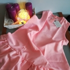 Różowa sukienka trapez falbana XS L nowa