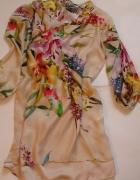 Zara jedwabna sukienka tunika kwiaty...