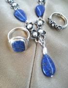 Stary srebrny naszyjnik lapis lazuli kwiat wiśni czy orno