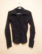NOWA koszula czarna klasyczna z żabotem 34 36 XS S...