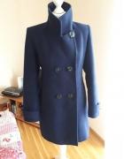 Ciepły elegancki granatowy płaszcz rozmiar L