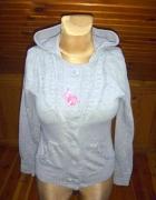 Sportowa szara rozpinana bluza z kapturem
