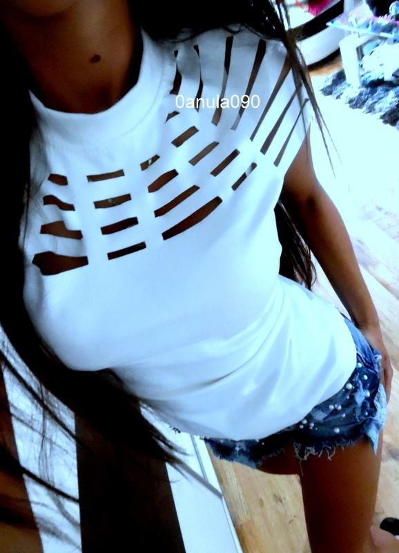 biała Zamszowa bluzeczka wycięcia 36