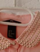 Koszula szyfonowa H&M pudrowy róż perełki 34