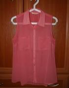 Różowa bluzka koszulowa mgiełka S