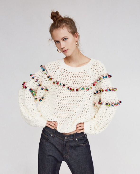Zara sweter pompony