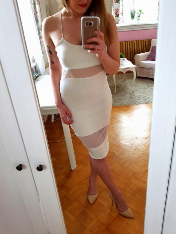 Suknie i sukienki Biała bandażowa sukienka siatka Missguided XS 34