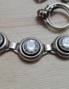 srebrny naszyjnik z wilkimi białymi cyrkoniami srebro próby 925