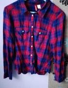Granatowo czerwona koszula w kratkę
