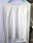 Bluzka z długim rękawem z wycięciem na plecach satynowa