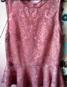 Piękna koronkowa mgiełka baskina pudrowy róż