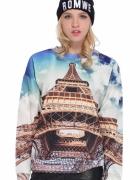 Romwe bluza 3d wieża eiffla paryż nadruk zara