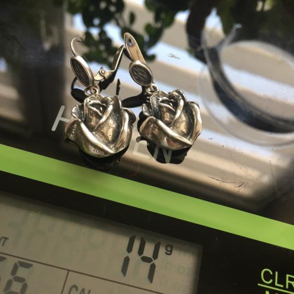 Kolczyki róża Róże stylizowane na stare antyczne srebro 925