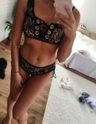 Bikini s czarno beżowe koronkowe nowe
