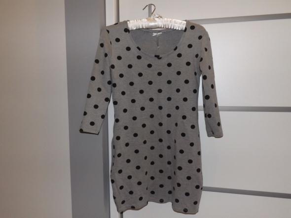 Crop tunika sukienka mini kropki szara S...