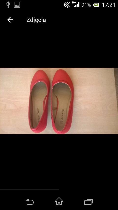 Buty damskie czerwone na koturnie 38