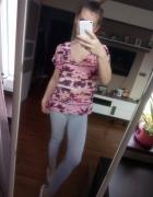 Różowa bluzka koszulka zwiewna palmy Takko Fashion must have hi...