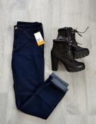 Ciemne jeansy wyższy stan skinny ankle H&M...