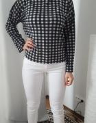 Zara sweter oversize kratka S M czarno bialy