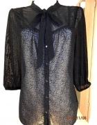 Bluzka Oasis Czarna z Wiazaniem przy Szyi Boho Goth L...