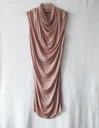 błyszcząca imprezowa pudrowa sukienka tunika XS S