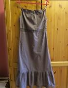 Długa brązowa sukienka boho hippie retro...