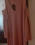 Sweter Sukienka Tunika pudrowy róż z dziurami i wyciętymi ramionami rozmiar 52 New Look