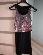 Czarna sukienka z błyszczącą górą rozmiar XS