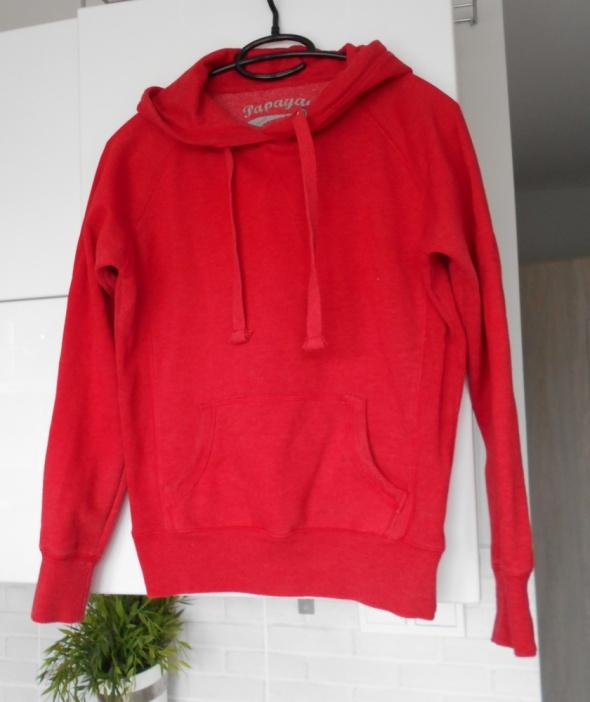 Bluzy Papaya czerwona bluza dresowa z kapturem kangurka