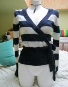 Cubus Sweter w paski wiązany w pasie rozmiaa 36