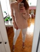 Różowa beżowa bluzka hafty L 40