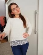 Biały sweter z koronką...
