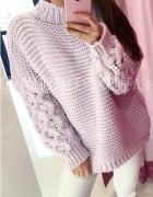 Nowy z metką sweter Dolce lila warkocz r uniwersalny...