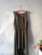 Atmosphere asymetryczna sukienka zieleń khaki