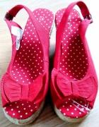 TEX czerwone koturny sandały na koturnach 37