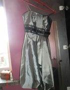 Srebrna suknia wieczorowa bombka 34