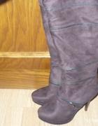 Kozaki czekoladowy brąz za kolano