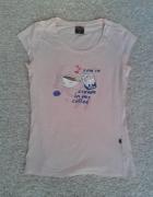 Reserved pudrowa pastelowa koszulka t shirt napis
