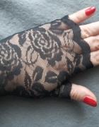 Nowe mitenki koronkowe czarne bez palców
