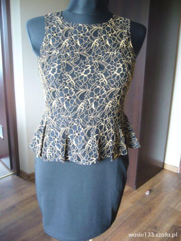 sukienka koronkowa z baskinką