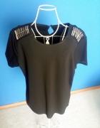 Czarna bluzka efektowne ramiona blaszki...
