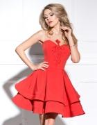 ALLURE Luksusowa sukienka z haftem czerwona...