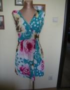 sukienka rozkloszowana kwiaty 38 Rodin