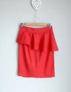 ZARA czerwona ołówkowa spódnica z baskinką...