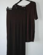 bluzka i spódnica brązowy komplet lejący materiał