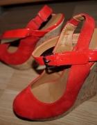 Buty damskie koturn wysoki obcas czerwone sandały letnie 38...