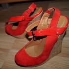 Buty damskie koturn wysoki obcas czerwone sandały letnie 38