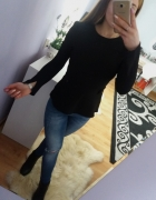 Czarna elegancka bluzka baskinka Zara...